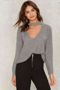 Nasty Gal Down the Rabbit Hole Plunging Sweater - Gray