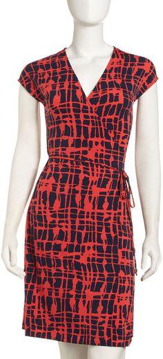 Print Jersey Wrap Dress - Lyst