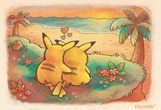 I love chu - cute pokemon picture - adorable, sweet, kawaii, love, in love, amo, pikachu, girl, boy, beach, sunset, digital, drawing, happy, cuddle
