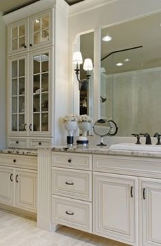 Pearlized White Cabinetry ... gorgeous