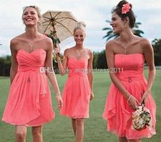 2016 Cheap Beach Bridesmaid Dresses Gown Under $100 Coral Chiffon Short Mini A Line Sweetheart Pleated Prom Dresses Formal Eveni on Aliexpress.com | Alibaba Group