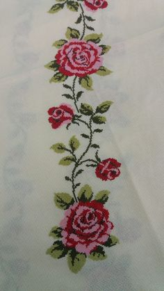 This Pin was discovered by Fat Cross Stitch Heart, Cross Stitch Borders, Cross Stitch Flowers, Cross Stitch Designs, Cross Stitching, Cross Stitch Patterns, Hand Embroidery Videos, Hand Embroidery Flowers, Ribbon Embroidery