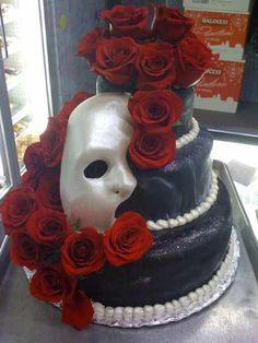 Phantom of the opera 13 Birthday Cake, 18th Birthday Party, Birthday Ideas, Opera Cake, Sweet 16 Cakes, Cupcake Display, Antique Wedding Rings, Masquerade Party, Phantom Of The Opera