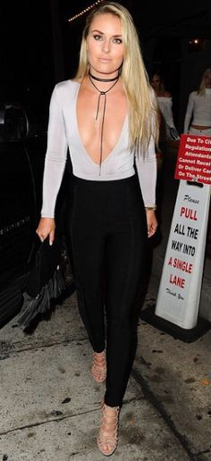 Lindsey Vonn spotted at Craig's Restaurant West Hollywood wearing a trendy choker necklace from Love Culture! Thanks to stylist Madison Guest for this shot! Shop her style at http://www.loveculture.com/black-suedette-wrap-around-choker-999.html!