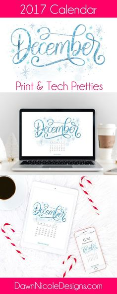 December 2017 Printable Calendar + Tech Pretties.One of my most popular posts each month are these free pretty printables and calendars for your tech!