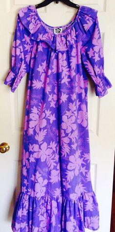 Vtg 1980s Hilo Hattie Muumuu Ruffle Hawaiian Dress Small s Purple Hostess Tiki | eBay