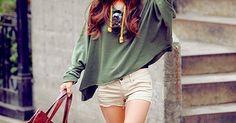 Hunter green and cream shorts