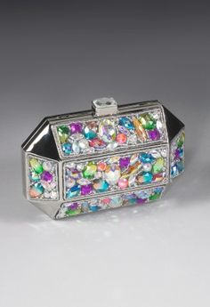 Handbags - Metal Box Handbag Clutch Bag with Gemstone from Camille La Vie and Group USA