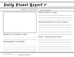 Daily Performance Report Format Planet Report Research Guide  Ideas For School  Pinterest .