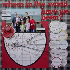#papercraft #scrapbook #layout.  GREAT idea for travel page! LOVE this! Jillibean Soup from Aly Dosdall!