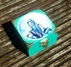 Turquoise box, wooden trinket box, handpainted, rainbow, crystals. Witchcraft, lilac, boho decor, hippy home, gypsy style, by GeorgiaLHarrisArt on Etsy