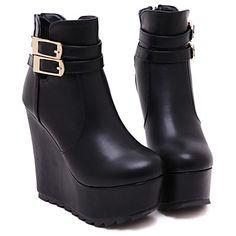 Zapatos de mujer Cuero Tacón Cuña Cuñas/Plataforma/Comfort/Punta Redonda/Botas a la Moda Botas Vestido/Fiesta y Noche Negro/Blanco – USD $ 54.99