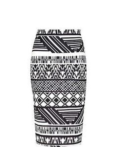 River Island Black and white tribal print pencil skirt