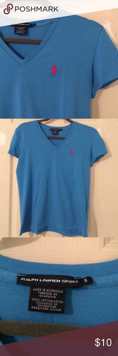NWOT Ralph Lauren Sport V Neck T-Shirt Bright blue color with pink Polo embroidered on right side. Never worn, no tags. All offers considered. Smoke free home. Ralph Lauren Tops Tees - Short Sleeve