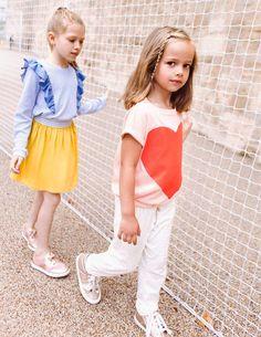 Sweat à volants en maille jacquard SPLASH jupe fluide élastiquée TCHIKI  BOUM Sweat à manches courtes. Kids FashionPreteen FashionCute ... 29ebd5322