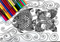 Ocean Coloring page, with many details, complex drawing to color, full of possibilities , color therapy! Attached we have 5 pictures for you print