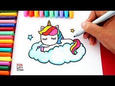 Aprende a dibujar un unicornio arcoiris sobre una nube estilo kawaii kidsletsdraw 365 Kawaii, Arte Do Kawaii, Kawaii Diy, Kawaii Room, Kawaii Stuff, Kawaii Anime, Disney Drawings, Cute Drawings, Kawaii Drawings