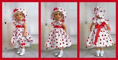 A pretty little apple picking dress, hat & bloomers. the dress has lovely tulip sleeves trimmed with red satin bows & red pearls as are the bloomers & the hat. made from lovely 100% cotton fabric. | eBay!