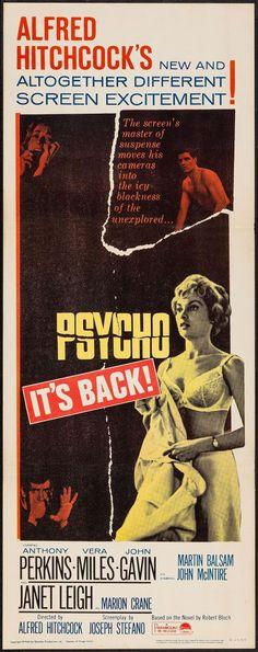 "Movie Posters:Hitchcock, Psycho (Paramount, R-1965). Insert (14"" X 36""). Hi…"