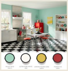 A lovely retro colour palette. Black and white checkered floor <3