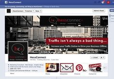 Hess Connect Marketing's custom facebook cover design. Traffic isn't always a bad thing... Increase your traffic online to drive your business offline. #facebookcover #webdesign www.sarahlorenzen...