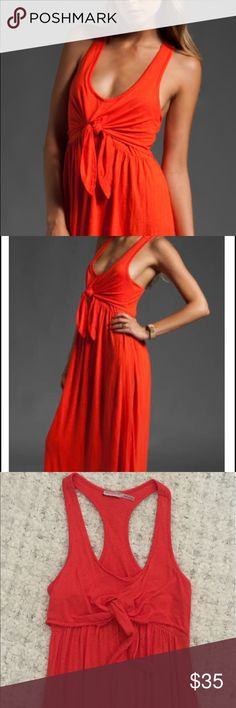 """Juicy Couture maxi orange dress Easy viscose linen maxi dress, with tie-front detail, empire waist and shoulder-baring racer back. Shoulder seam to hem approximately 57"""" in length. Material: 75%viscose, 25% linen. Perfect for jet-setting jaunts or lazy poolside. Juicy Couture Dresses Maxi"""