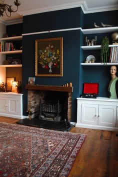 Hague Blue feature wall with bespoke alcove storage decorating ideas feature wall Hague Blue living room 1930s Living Room, Navy Living Rooms, Victorian Living Room, Blue Living Room Decor, Dark Blue Living Room, Dining Room Blue, Living Room Paint, Living Room Colors, Living Room Designs