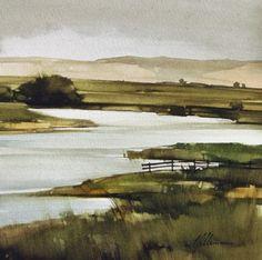 """2010, Pale Creek by Joseph Alleman Watercolor ~ 8"""" x 8"""""""