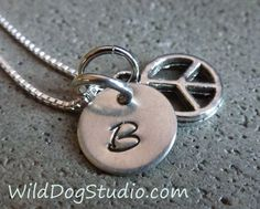 Personalized Initial Necklace - with Peace charm - Tiny Silver custom charm  - monogram jewelry