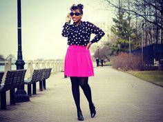 pink skirt, polka dot shirt