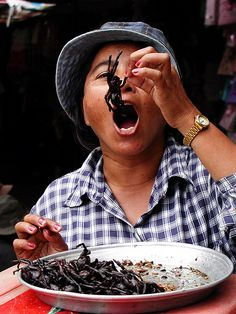 Skuon district in Cambodia, big tarantula spiders are fried whole and eaten with relish.  69 calories per ounce. http://www.gap360.com/
