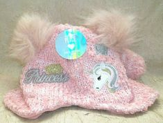 0dc6399f757 THE CHILDRENS PLACE Toddler Girls Knit Hat   Mittens PINK Princess Unicorn  NWT  TheChildrensPlace  Hatmittensset