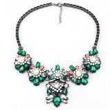 Mokingtop® Fashion Jewelry Women Crystal Pearl Resin Flower Chunky Necklace Pendant (Green) - http://tonysgifts.net/2015/04/17/mokingtop-fashion-jewelry-women-crystal-pearl-resin-flower-chunky-necklace-pendant-green/