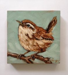 Wren painting 5x5 inch original oil painting of a by LaveryART #OilPaintingBirds