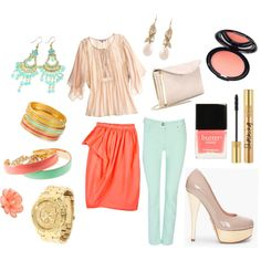 Coral Mint, created by jessica-zeca on Polyvore