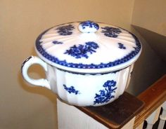 ANTIQUE FLOW BLUE CHAMBER POT WITH COVER LID ENGLAND    eBay