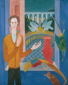 Golden Age, Self-Portrait with pigeons, Jenő Paizs Goebel,1931