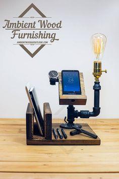Lámpara de tubo industrial con soporte para iPad y Apple Watch