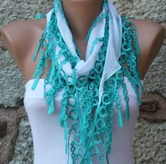 White Scarf Cotton Scarf Headband Necklace Cowl with  by fatwoman, $13.50