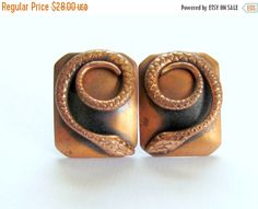 On Sale Copper Snake Earrings Whiting and Davis by vintagepaige