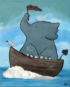 Elephant Kids Wall Art, Jungle Animal Nursery Painting Illustration, Original Art. $50.00, via Etsy.