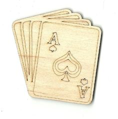 Deck of Playing Cards  Engraved Laser Cut Unfinished Wood Shapes Variety of Sizes Craft Supply DIY TOY3