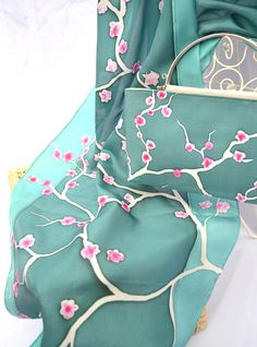 Hand painted silk by Yara Sekiguchi - silk scarf with matching handbag.