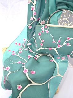 Hand painted silk by Yara Sekiguchi - silk scarf with matching handbag.