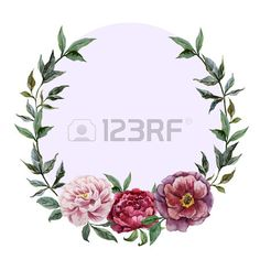 Beautiful vector watercolor frame with peonies on black fon