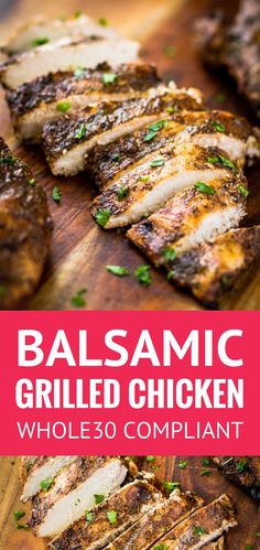 Juicy Balsamic Grilled Chicken - this balsamic grilled chicken recipe makes the most juicy and succulent boneless skinless breasts EVER with just 4 ingredients and 30 minutes of marinating time And it s compliant balsamic grilled chicken ma Teriyaki Chicken, Balsamic Chicken Marinades, Chicken Cutlet Recipes, Balsamic Grilled Chicken, Cutlets Recipes, Chicken Marinade Recipes, Grilled Meat, Healthy Chicken Marinades, Juicy Grilled Chicken Recipe