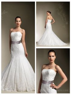 Traditional Strapless Lace Designer Mermaid Wedding Dress with Satin Ribbon