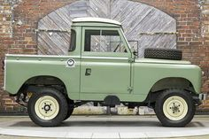 We proudly offer this previously restored 1966 Land Rover Series IIA Pickup in Green over a freshly reupholstered grey interior. however, it is mileage . Land Rover Truck, Land Rover Pick Up, Land Rover 88, Land Rover Series 3, Land Rover Defender 110, Defender 90, Suv 4x4, Range Rover Classic, Gray Interior