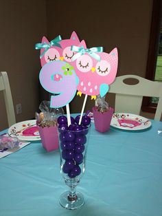 3 Colorful Owl Birthday Party Centerpiece by sweetheartpartyshop