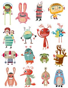 Evelyn Daviddi has designed funny monsters to play with the magic stickers of APLI Kids. Cute Monster Illustration, Children's Book Illustration, Funny Monsters, Cartoon Monsters, Monster Design, Monster Art, Drawing For Kids, Art For Kids, Art Plastique